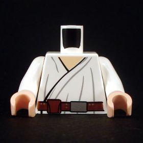 LEGO Torso, White Wrap-Around Tunic, Brown Belt