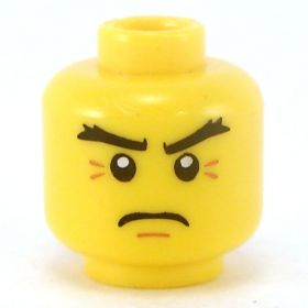LEGO Head, Angled Black Eyebrows, Frown