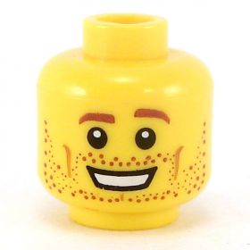 LEGO Head, Brown Eyebrows and Stubble, Broad Smile