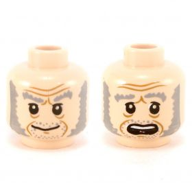 LEGO Head, Gray Eyebrows, Large Sideburns
