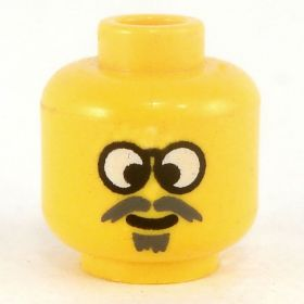 LEGO Head, Gray Moustache and Sould Patch, Glasses, Cross-Eyed