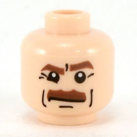 LEGO Head, Brown Eyebrows and Thick Brown Moustache