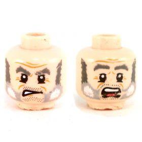 LEGO Head, Gray Beard and Eyebrows, Crow's Feet, Angry / Scared - damaged