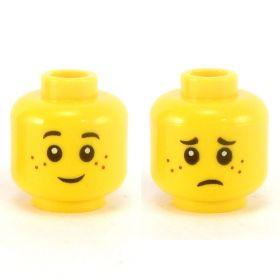 LEGO Head, Black Eyebrows, Freckles