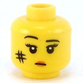 LEGO Head, Female, Raised Eyebrow, Bruise