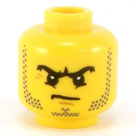 LEGO Head, Black Arched Eyebrows and Stubble