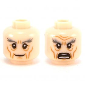 LEGO Head, Thick Gray Eyebrows, Smiling / Angry