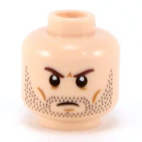 LEGO Head, Brown Eyebrows, Stubble, Frowning