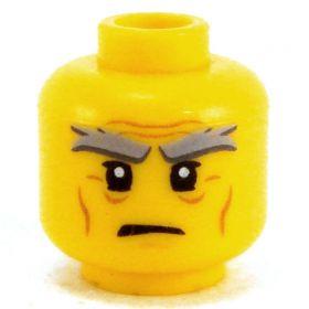 LEGO Head, Bushy Gray Eyebrows, Wrinkles