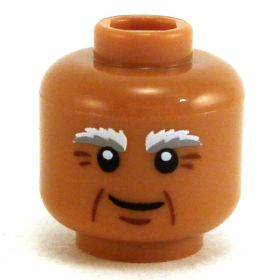 LEGO Head, Bushy White and Gray Eyebrows, Crow's Feet and Small Smile