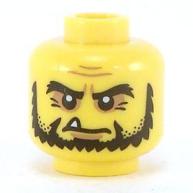 LEGO Head, Black Chinstrap Beard, Pointy Tooth
