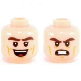 LEGO Head, Light Flesh, Thick Dark Brown Eyebrows, Dark Orange Cheek Lines