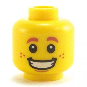LEGO Head, Dark Orange Eyebrows and Freckles, Wide Grin