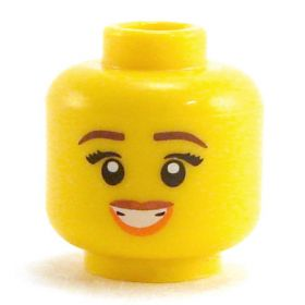 LEGO Head, Female, Thin Reddish Brown Eyebrows, Eyelashes, Smile with Teeth