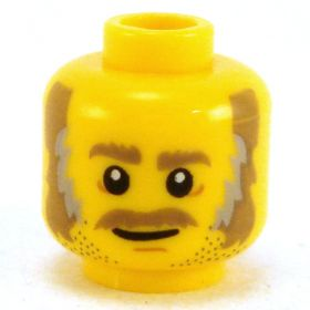 LEGO Head, Brown and Gray Moustache and Sideburns