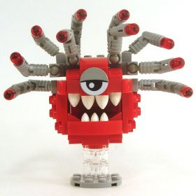 LEGO Beholder, Red with Gray Eyestalks, Gray Eyelid