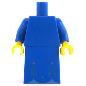 LEGO Plain Blue Dress with Flower Pattern on Bottom