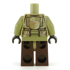 LEGO Complete Outfit with Dark Tan and Olive Green Camouflage, Brown Pants
