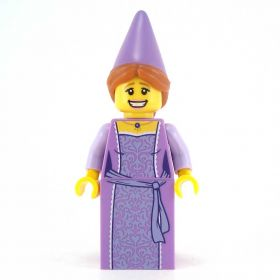 LEGO Complete Figure, Lavender Dress, Fancy Pattern with Matching Hat