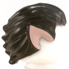 LEGO Hair, Black, Swept Back with Light Flesh Ears