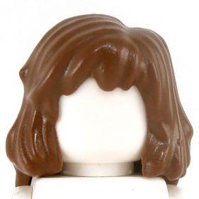 LEGO Hair, Side Part, Mid-Length, Reddish Brown