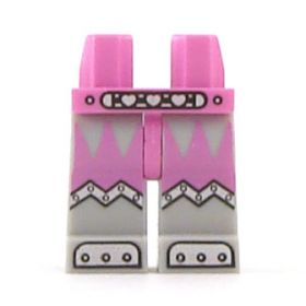 LEGO Legs, Pink Hips, Light Bluish Gray Legs, Belt with Hearts, Armor