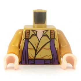 LEGO Torso, Female, Gold Shirt with Purple Straps