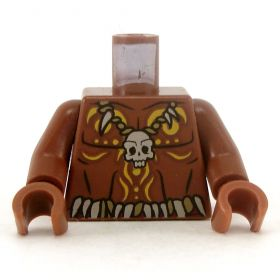 LEGO Torso, Bare Chest with Skull Necklace and Body Paint