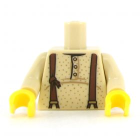 LEGO Dark Tan Undershirt with Buttons, Old Suspenders