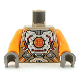 LEGO Torso, Silver Body Armor with Orange Straps