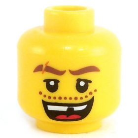 LEGO Head, Thick Brown Eyebrows with Scar, Open Mouth with Missing Tooth