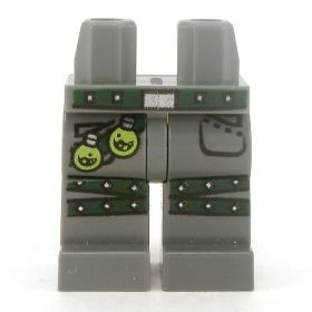 LEGO Legs, Dark Bluish Gray with Studded Dark Green Belt and Leg Straps, Two Potions