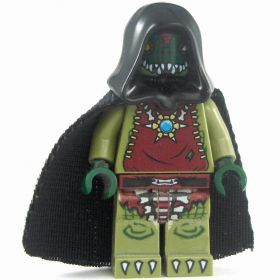 LEGO Lizardfolk Shaman / Druid (PF2 Stargazer), Black Hooded Cloak