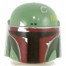 LEGO Green Helmet with Dark Green and Dark Red Highlights on Front