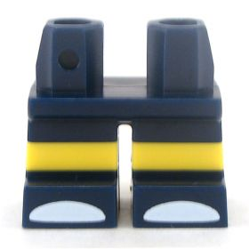 LEGO Short Legs, Dark Blue with Yellow Stripe