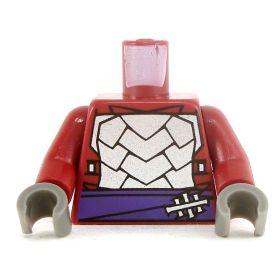 LEGO Torso, Dark Red, Silver Armor, Purple Sash