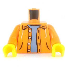 LEGO Torso, Orange Jacket with Hood, Light Blue Shirt