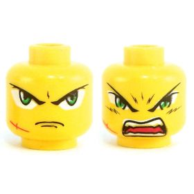 LEGO Head, Large Green Eyes, Scar, Frowning / Angry