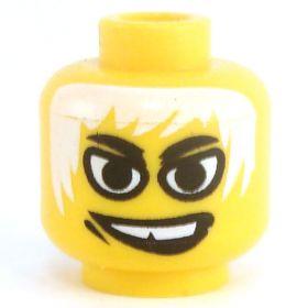 LEGO Head, White Hair, Large Eyes, Smiling