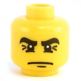 LEGO Head, Angled Thick Black Eyebrows, Frown