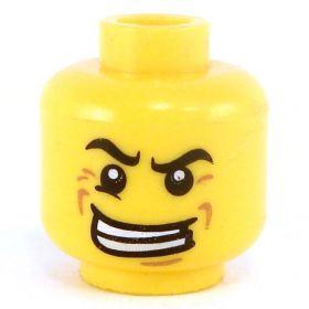 LEGO Head, Raised Eyebrow, Large Crooked Grin, Crow's Feet