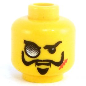 LEGO Head, Long Thin Black Moustache and Scar, Monocle, Goatee