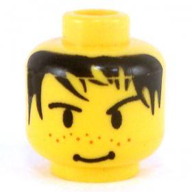 LEGO Head, Black Hair, Freckles