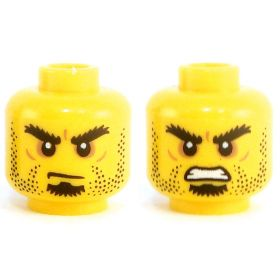 LEGO Head, Heavy Black Eyebrows, Stubble and Goatee, Frowning/Angry