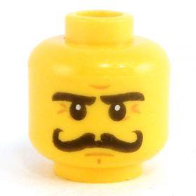 LEGO Head, Curled Black Moustache, Eyebrows