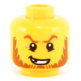 LEGO Head, Dark Orange Eyebrows and Chinstrap Beard, Missing Tooth