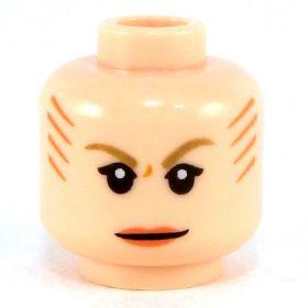 LEGO Head, Female, Dark Tan Eyebrows and Orange Lips, Tattoo Lines on Side and Back