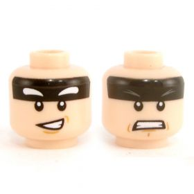 LEGO Head, Black Headband, Smile / Gritted Teeth