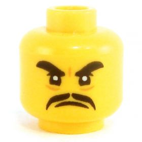 LEGO Head, Long Thin Moustache, Frowning