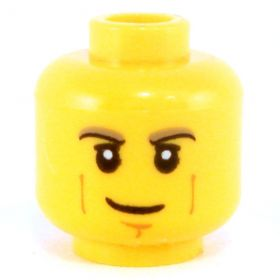 LEGO Head, Brown Eyebrows, Vertical Cheek Lines, Cleft Chin, Smile